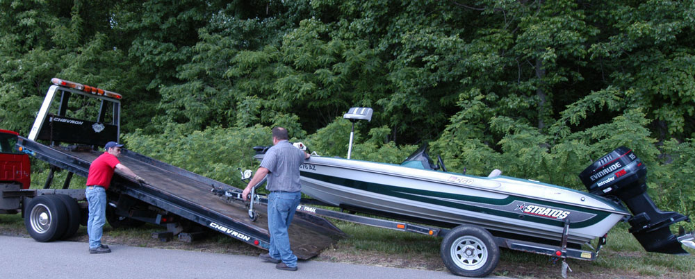 Boat Rescue Flatbed Towing!