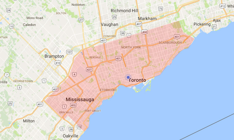 Mississauga, Etobicoke and Toronto are our service areas.
